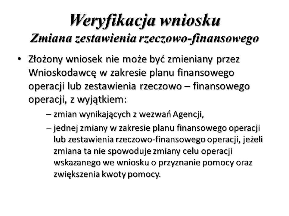 Weryfikacja wniosku Zmiana zestawienia rzeczowo-finansowego Złożony wniosek nie może być zmieniany przez Wnioskodawcę w zakresie planu finansowego operacji lub zestawienia rzeczowo – finansowego operacji, z wyjątkiem: Złożony wniosek nie może być zmieniany przez Wnioskodawcę w zakresie planu finansowego operacji lub zestawienia rzeczowo – finansowego operacji, z wyjątkiem: –zmian wynikających z wezwań Agencji, –jednej zmiany w zakresie planu finansowego operacji lub zestawienia rzeczowo-finansowego operacji, jeżeli zmiana ta nie spowoduje zmiany celu operacji wskazanego we wniosku o przyznanie pomocy oraz zwiększenia kwoty pomocy.