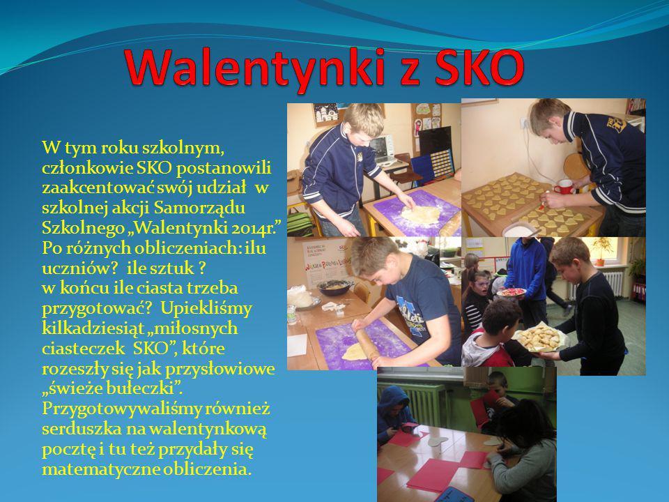 """W tym roku szkolnym, członkowie SKO postanowili zaakcentować swój udział w szkolnej akcji Samorządu Szkolnego """"Walentynki 2014r. Po różnych obliczeniach: ilu uczniów."""