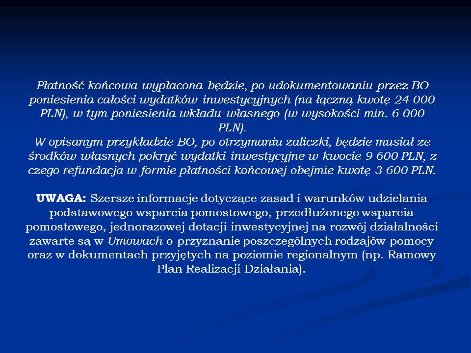 Płatność końcowa wypłacona będzie, po udokumentowaniu przez BO poniesienia całości wydatków inwestycyjnych (na łączną kwotę 24 000 PLN), w tym poniesienia wkładu własnego (w wysokości min.