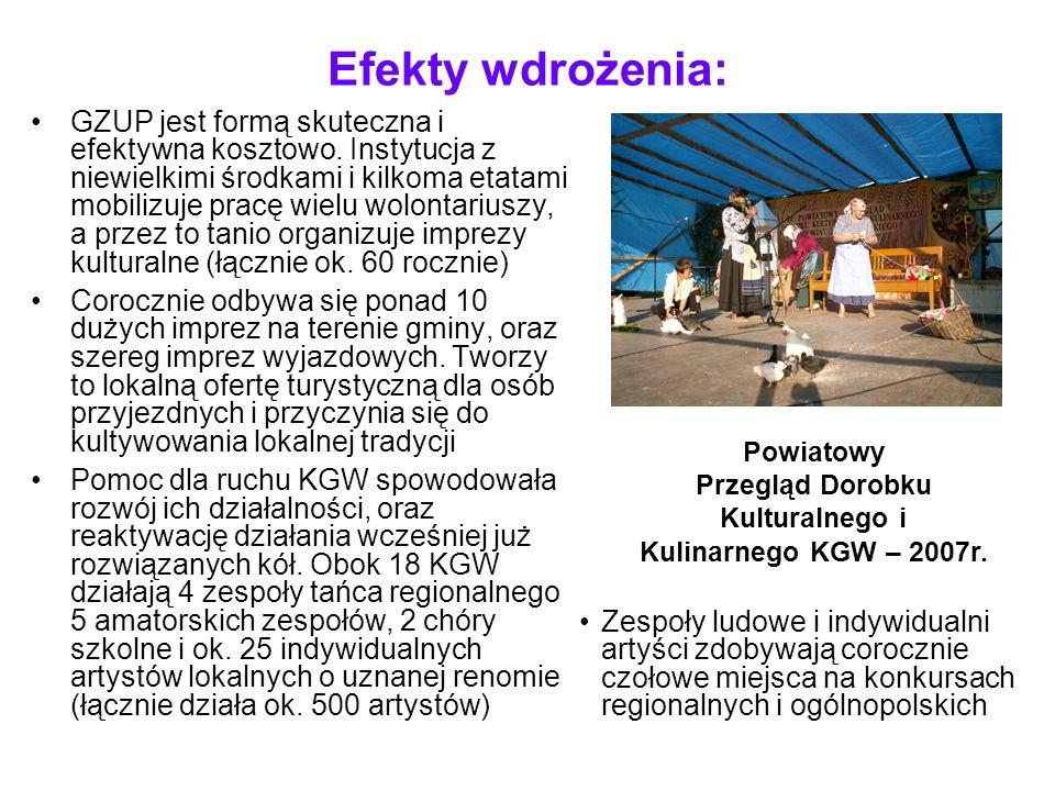 Efekty wdrożenia: Instytucja jest efektywna kosztowo i prowadzona przez profesjonalny personel, motywacyjny system wynagradzania pracowników Corocznie środki wydatkowane na działalność KGW rosną (obecnie ponad 100,000 zł rocznie) ale jedynie 50% pochodzi z gminy, a reszta z dotacji zewnętrznych, w tym UE (2007 - Program INTERREG IIIA, dotacja MKiDN) Wydatki własne na KGW i zespoły regionalne w ujęciu realnym spadają z roku na rok, a zakres działalności zwiększa się Aktywna promocja agroturystyki i rozwoju ruchu turystycznego na terenie gminy – wytyczanie nowych szlaków turystycznych - rozwój gospodarczy gminy i zwiększenie dochodów mieszkańców Targi turystyczne w Warszawie