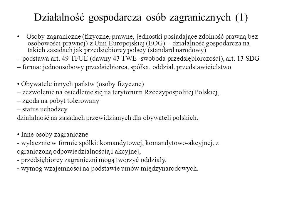 Działalność gospodarcza osób zagranicznych (1) Osoby zagraniczne (fizyczne, prawne, jednostki posiadające zdolność prawną bez osobowości prawnej) z Un