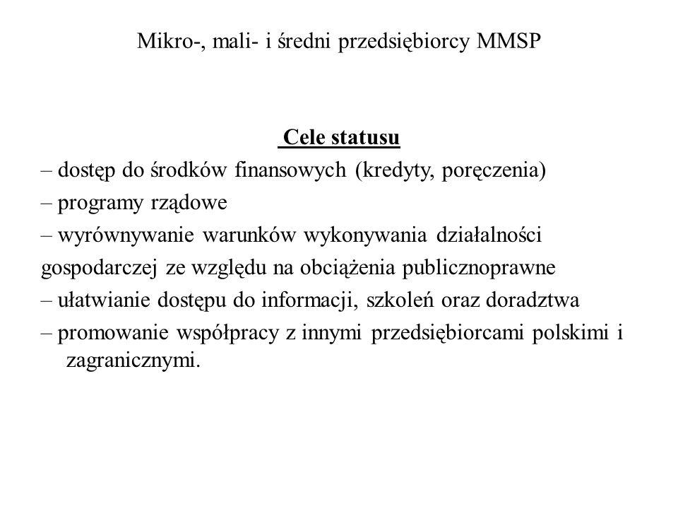 Mikro-, mali- i średni przedsiębiorcy MMSP Cele statusu – dostęp do środków finansowych (kredyty, poręczenia) – programy rządowe – wyrównywanie warunk