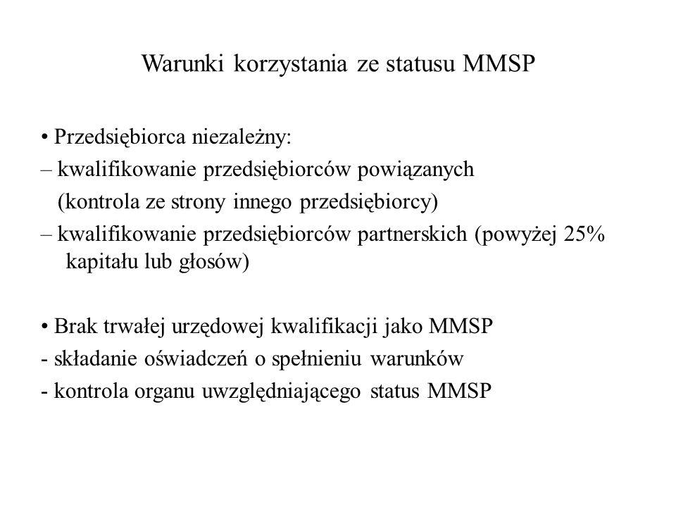 Warunki korzystania ze statusu MMSP Przedsiębiorca niezależny: – kwalifikowanie przedsiębiorców powiązanych (kontrola ze strony innego przedsiębiorcy)