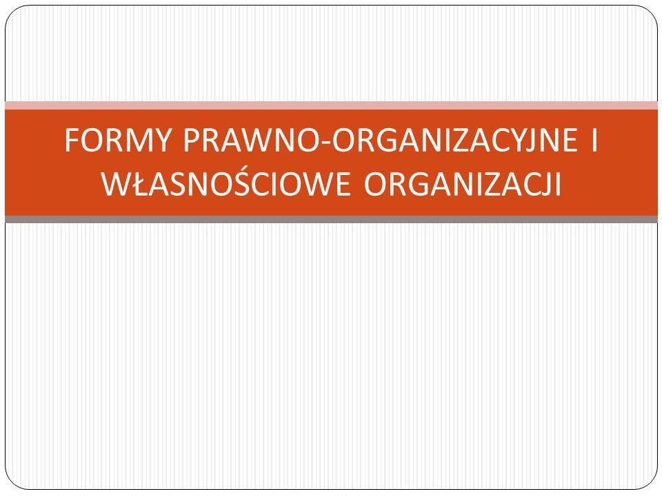FORMY PRAWNO-ORGANIZACYJNE I WŁASNOŚCIOWE ORGANIZACJI