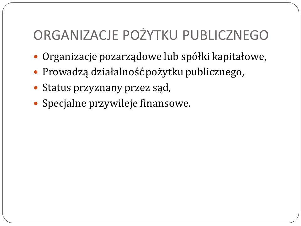 ORGANIZACJE POŻYTKU PUBLICZNEGO Organizacje pozarządowe lub spółki kapitałowe, Prowadzą działalność pożytku publicznego, Status przyznany przez sąd, S