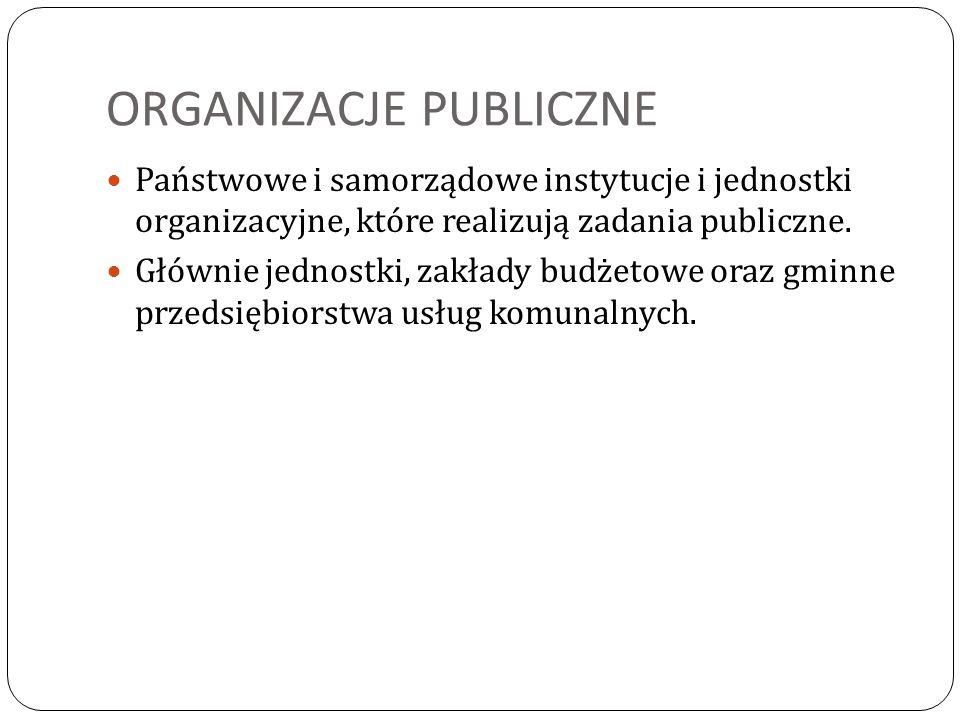 ORGANIZACJE PUBLICZNE Państwowe i samorządowe instytucje i jednostki organizacyjne, które realizują zadania publiczne. Głównie jednostki, zakłady budż