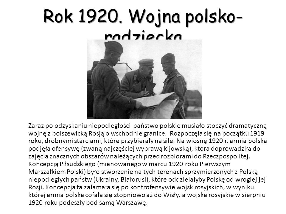 Odzyskanie niepodległości przez Polskę Rok 1918 Pod koniec wojny, kiedy było już wiadomo, że Państwa Centralne przegrają wojnę Piłsudski doprowadził do odmowy złożenia przysięgi Niemcom.