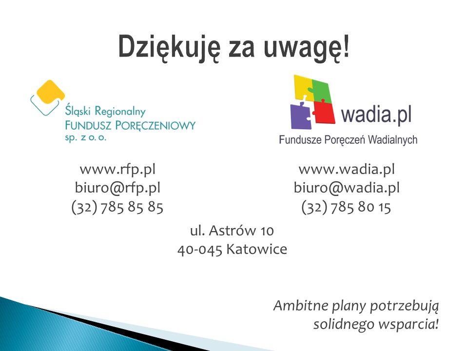 www.rfp.pl biuro@rfp.pl (32) 785 85 85 www.wadia.pl biuro@wadia.pl (32) 785 80 15 ul. Astrów 10 40-045 Katowice Ambitne plany potrzebują solidnego wsp