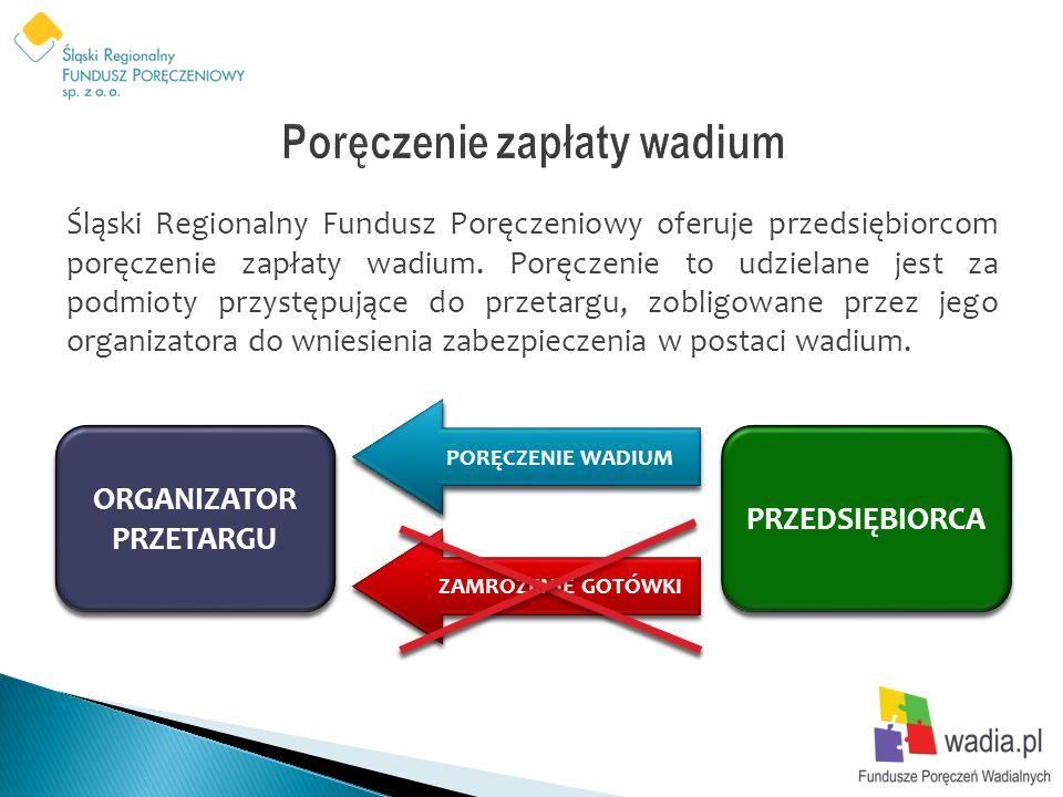 Śląski Regionalny Fundusz Poręczeniowy oferuje przedsiębiorcom poręczenie zapłaty wadium. Poręczenie to udzielane jest za podmioty przystępujące do pr