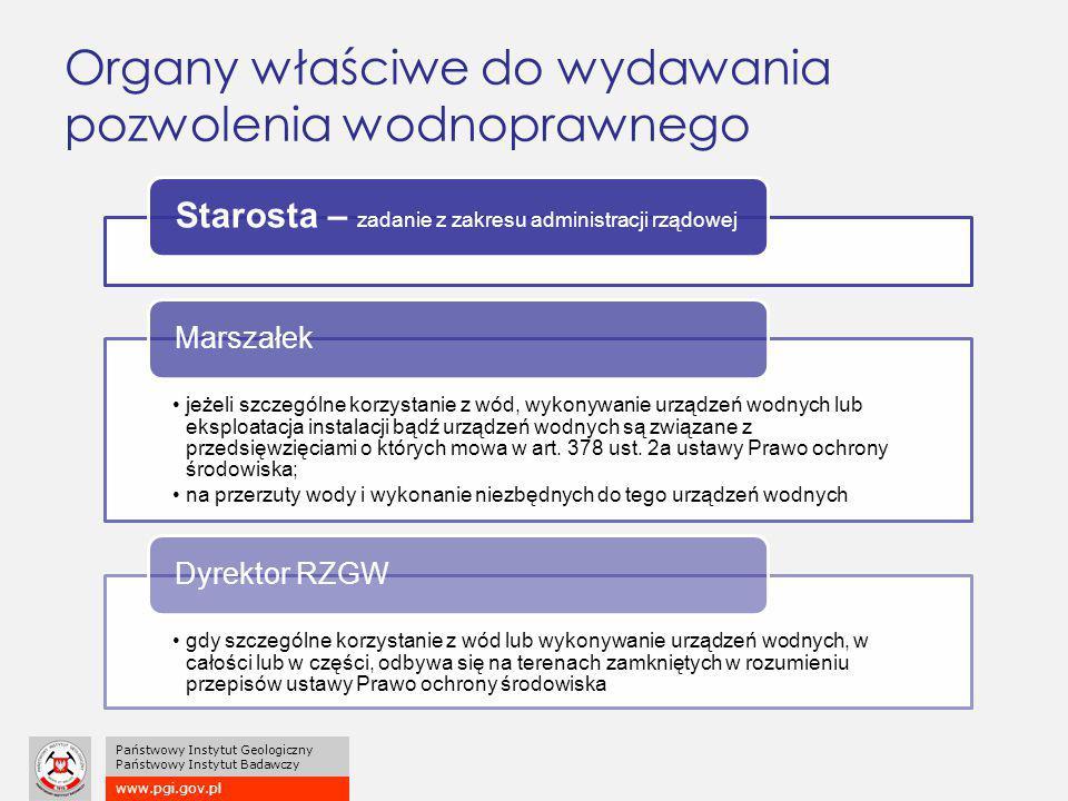 www.pgi.gov.pl Państwowy Instytut Geologiczny Państwowy Instytut Badawczy Organy właściwe do wydawania pozwolenia wodnoprawnego Starosta – zadanie z z