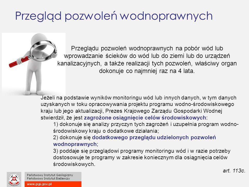 www.pgi.gov.pl Państwowy Instytut Geologiczny Państwowy Instytut Badawczy Przegląd pozwoleń wodnoprawnych Jeżeli na podstawie wyników monitoringu wód