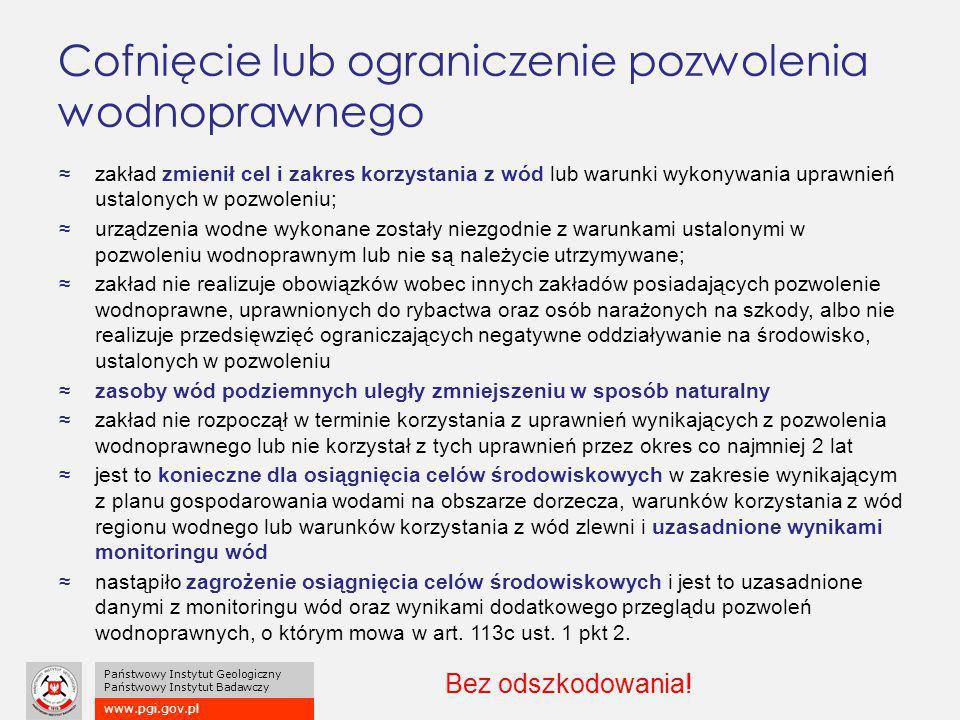 www.pgi.gov.pl Państwowy Instytut Geologiczny Państwowy Instytut Badawczy Cofnięcie lub ograniczenie pozwolenia wodnoprawnego ≈zakład zmienił cel i za
