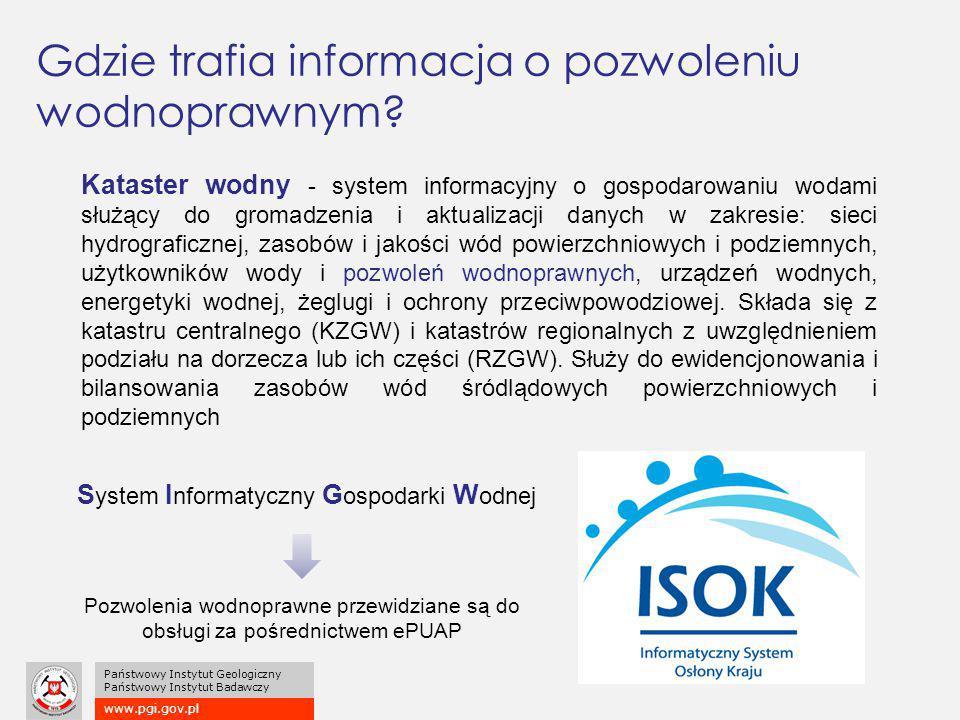 www.pgi.gov.pl Państwowy Instytut Geologiczny Państwowy Instytut Badawczy Gdzie trafia informacja o pozwoleniu wodnoprawnym? Kataster wodny - system i