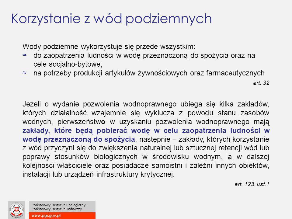 www.pgi.gov.pl Państwowy Instytut Geologiczny Państwowy Instytut Badawczy Korzystanie z wód podziemnych Wody podziemne wykorzystuje się przede wszystk
