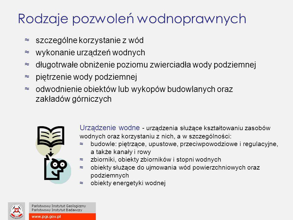 www.pgi.gov.pl Państwowy Instytut Geologiczny Państwowy Instytut Badawczy Rodzaje pozwoleń wodnoprawnych ≈szczególne korzystanie z wód ≈wykonanie urzą