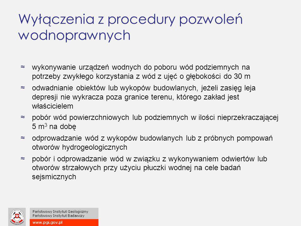 www.pgi.gov.pl Państwowy Instytut Geologiczny Państwowy Instytut Badawczy Wyłączenia z procedury pozwoleń wodnoprawnych ≈wykonywanie urządzeń wodnych