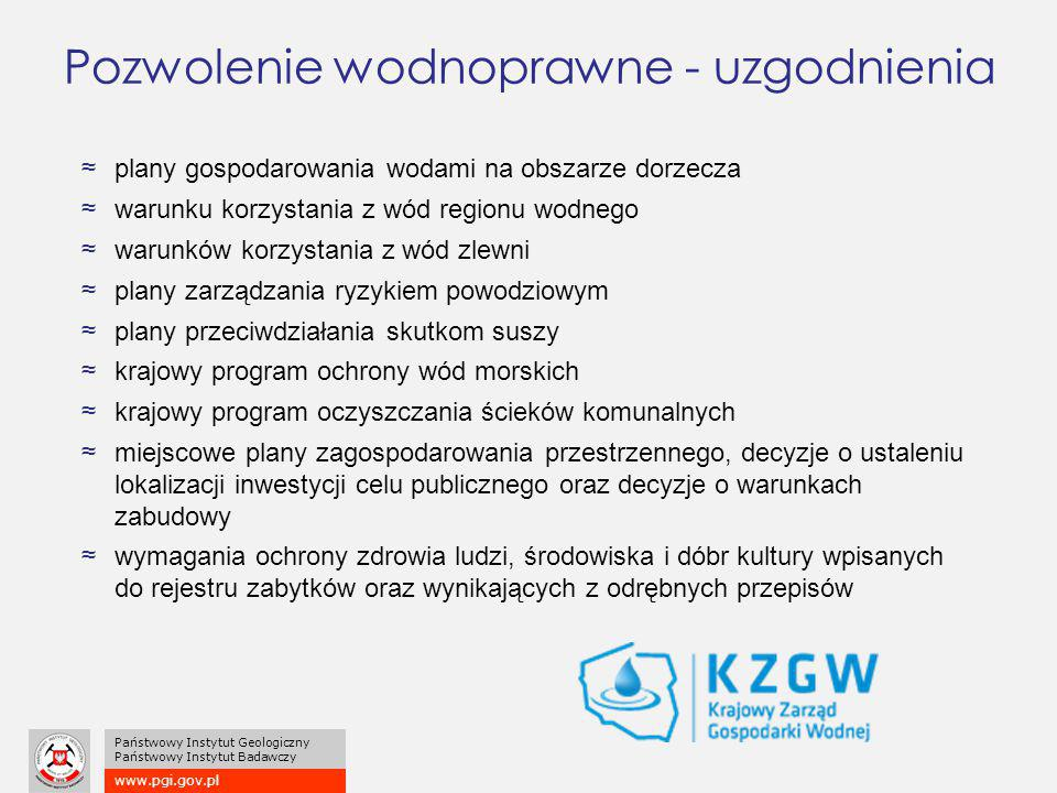 www.pgi.gov.pl Państwowy Instytut Geologiczny Państwowy Instytut Badawczy ≈plany gospodarowania wodami na obszarze dorzecza ≈warunku korzystania z wód