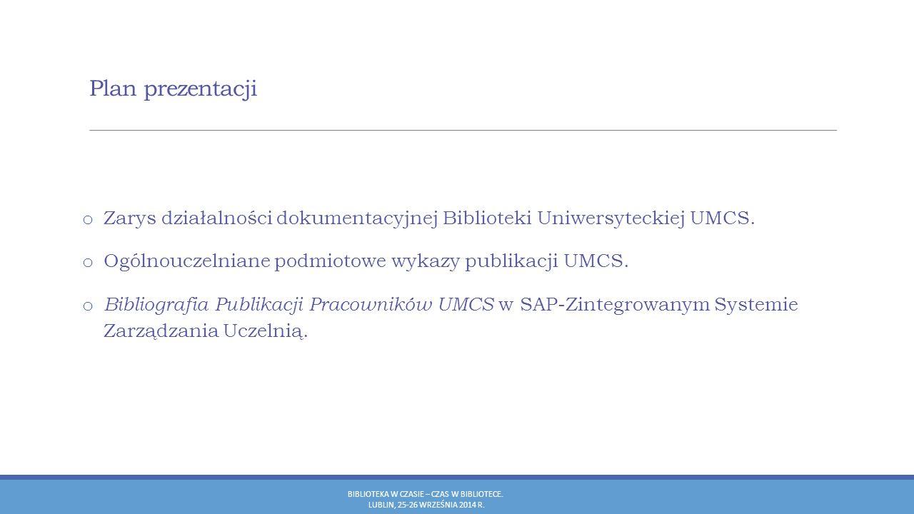 Bibliografia Publikacji Pracowników UMCS Opis bibliograficzny BIBLIOTEKA W CZASIE – CZAS W BIBLIOTECE.