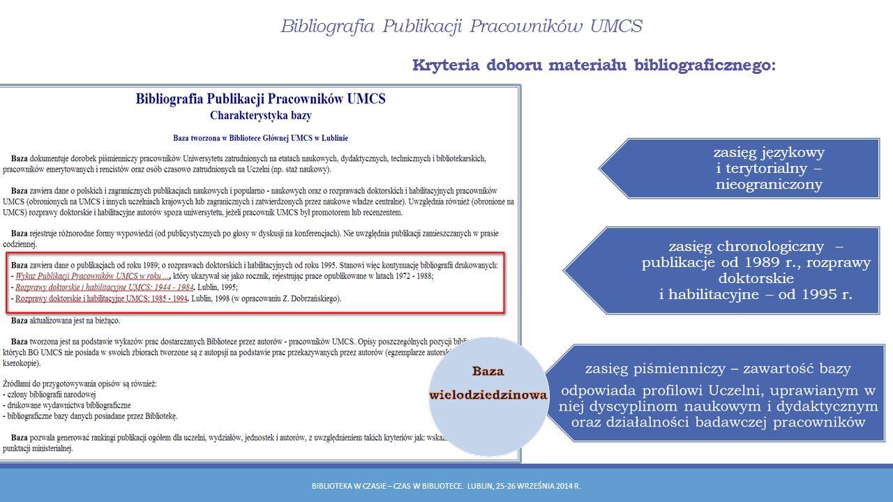 Bibliografia Publikacji Pracowników UMCS BIBLIOTEKA W CZASIE – CZAS W BIBLIOTECE.