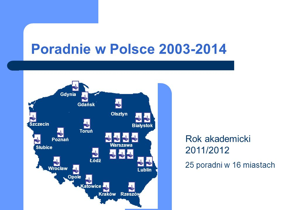 Rok akademicki 2011/2012 25 poradni w 16 miastach Białystok Warszawa Lublin RzeszówKraków Katowice Opole Wrocław Łódź Poznań Toruń Gdańsk Szczecin Słu