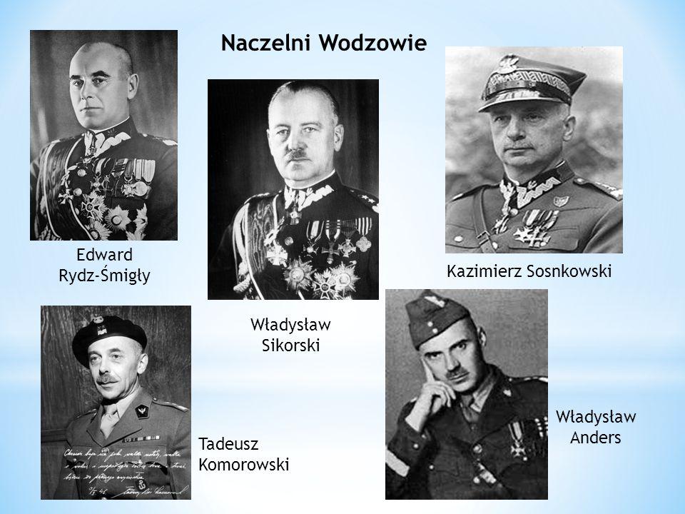 Naczelni Wodzowie Edward Rydz-Śmigły Tadeusz Komorowski Władysław Sikorski Kazimierz Sosnkowski Władysław Anders