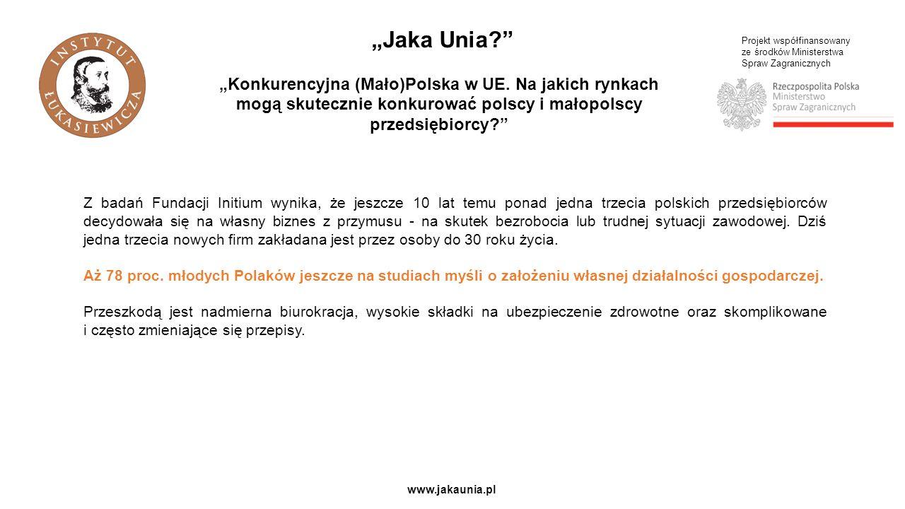 """Projekt współfinansowany ze środków Ministerstwa Spraw Zagranicznych www.jakaunia.pl """"Jaka Unia """"Konkurencyjna (Mało)Polska w UE."""