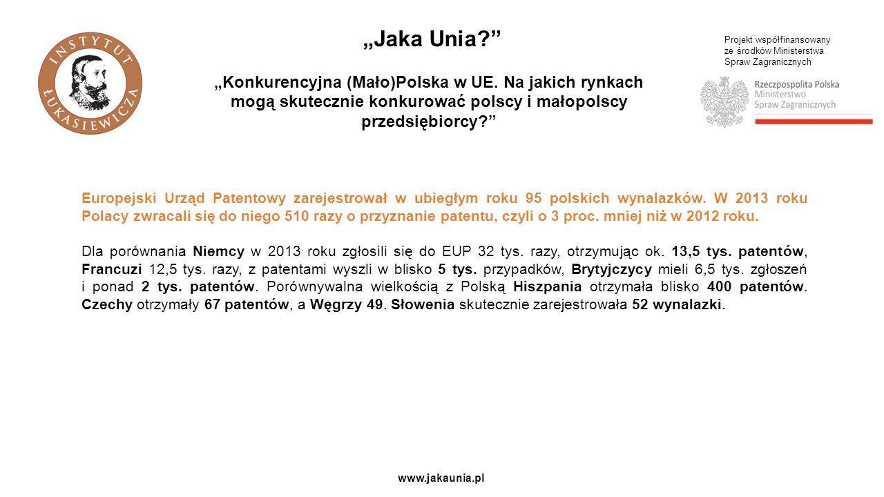 """Projekt współfinansowany ze środków Ministerstwa Spraw Zagranicznych www.jakaunia.pl """"Jaka Unia? """"Konkurencyjna (Mało)Polska w UE."""