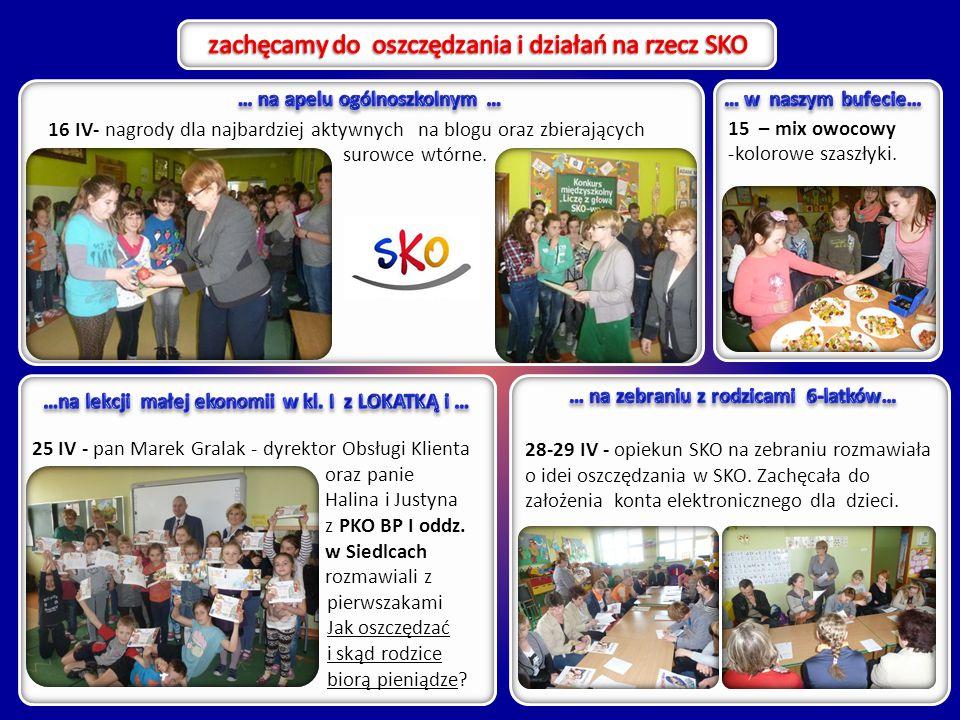 15 – mix owocowy -kolorowe szaszłyki. 16 IV- nagrody dla najbardziej aktywnych na blogu oraz zbierających surowce wtórne. 28-29 IV - opiekun SKO na ze