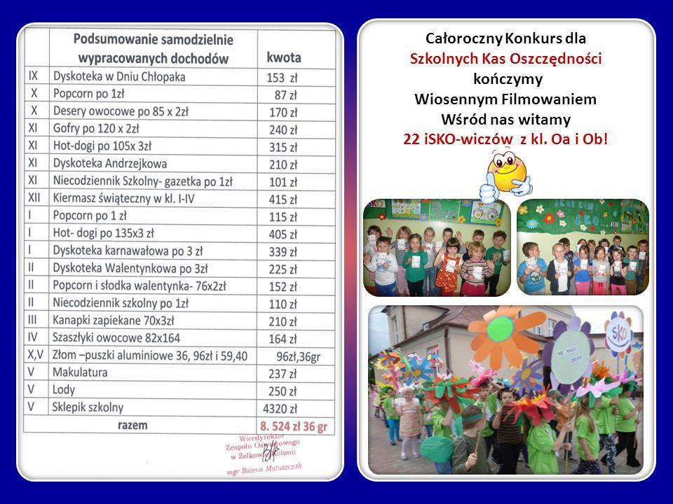 Całoroczny Konkurs dla Szkolnych Kas Oszczędności kończymy Wiosennym Filmowaniem Wśród nas witamy 22 iSKO-wiczów z kl. Oa i Ob!