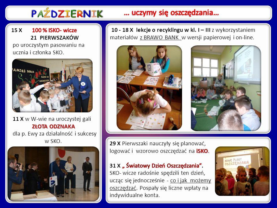 8 IV - odbył się konkurs LICZĘ Z GŁOWĄ SKO-wo, w którym rywalizowali SKO-wicze klas IV-V z zaprzyjaźnionych szkół: Izdebki Kosny, Ługi Wielkie i my ;-).
