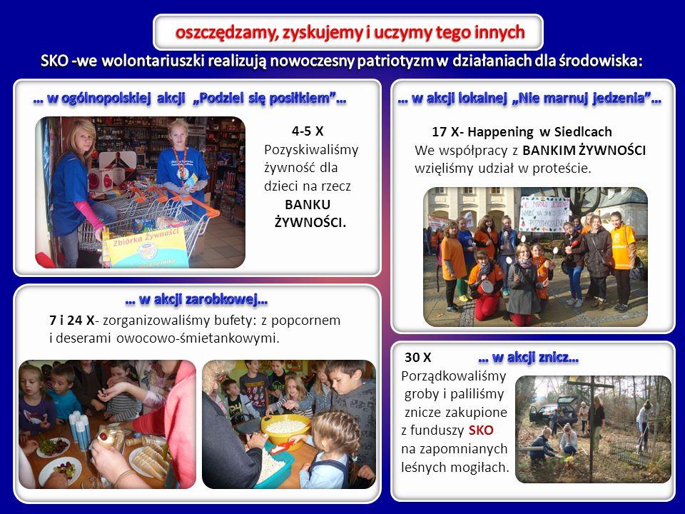 17 X- Happening w Siedlcach We współpracy z BANKIM ŻYWNOŚCI wzięliśmy udział w proteście. 4-5 X Pozyskiwaliśmy żywność dla dzieci na rzecz BANKU ŻYWNO