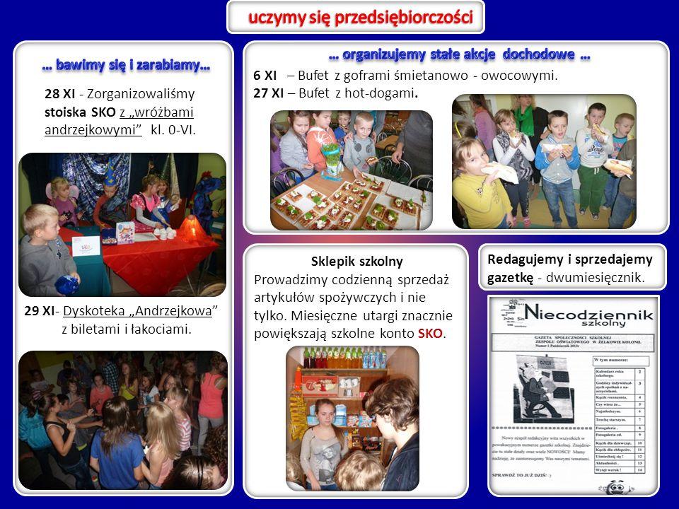 """28 XI - Zorganizowaliśmy stoiska SKO z """"wróżbami andrzejkowymi"""" kl. 0-VI. 29 XI- Dyskoteka """"Andrzejkowa"""" z biletami i łakociami. Redagujemy i sprzedaj"""