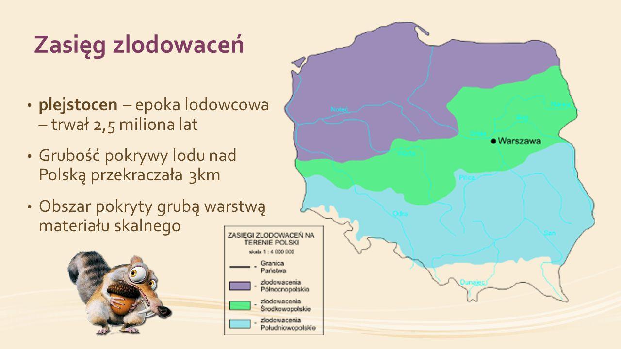 Zasięg zlodowaceń plejstocen – epoka lodowcowa – trwał 2,5 miliona lat Grubość pokrywy lodu nad Polską przekraczała 3km Obszar pokryty grubą warstwą m