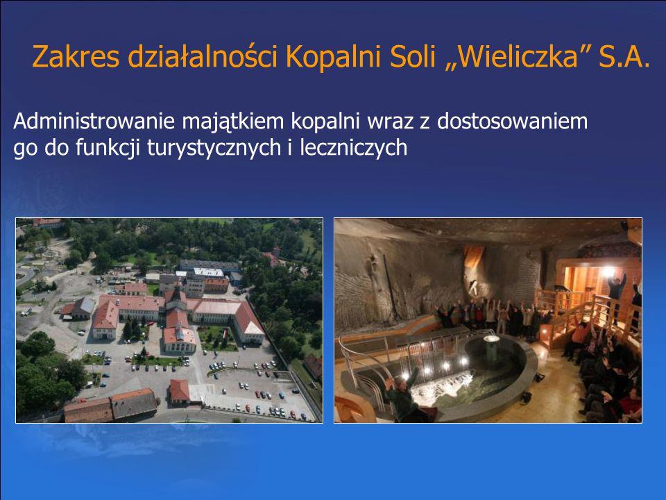 """Zakres działalności Kopalni Soli """"Wieliczka"""" S.A. Administrowanie majątkiem kopalni wraz z dostosowaniem go do funkcji turystycznych i leczniczych"""