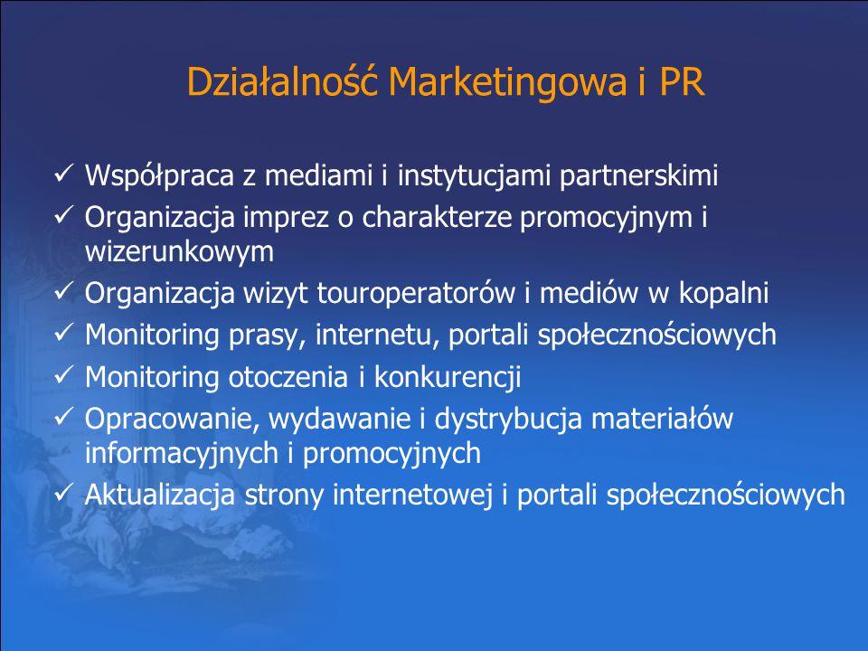 Działalność Marketingowa i PR Współpraca z mediami i instytucjami partnerskimi Organizacja imprez o charakterze promocyjnym i wizerunkowym Organizacja