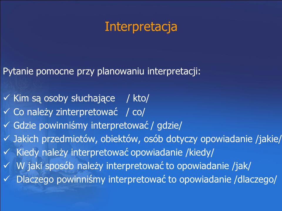 Interpretacja Pytanie pomocne przy planowaniu interpretacji: Kim są osoby słuchające / kto/ Co należy zinterpretować / co/ Gdzie powinniśmy interpreto