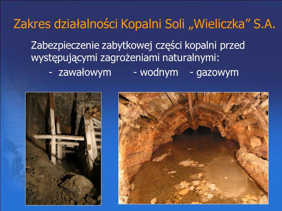 """Zakres działalności Kopalni Soli """"Wieliczka"""" S.A. Zabezpieczenie zabytkowej części kopalni przed występującymi zagrożeniami naturalnymi: - zawałowym-"""