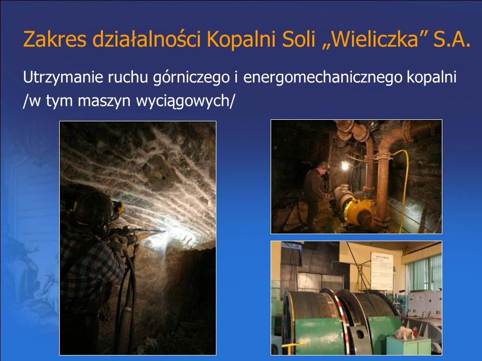 """Zakres działalności Kopalni Soli """"Wieliczka"""" S.A. Utrzymanie ruchu górniczego i energomechanicznego kopalni /w tym maszyn wyciągowych/"""