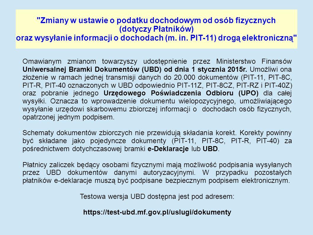 Zmiany w ustawie o podatku dochodowym od osób fizycznych (dotyczy Płatników) oraz wysyłanie informacji o dochodach (m.