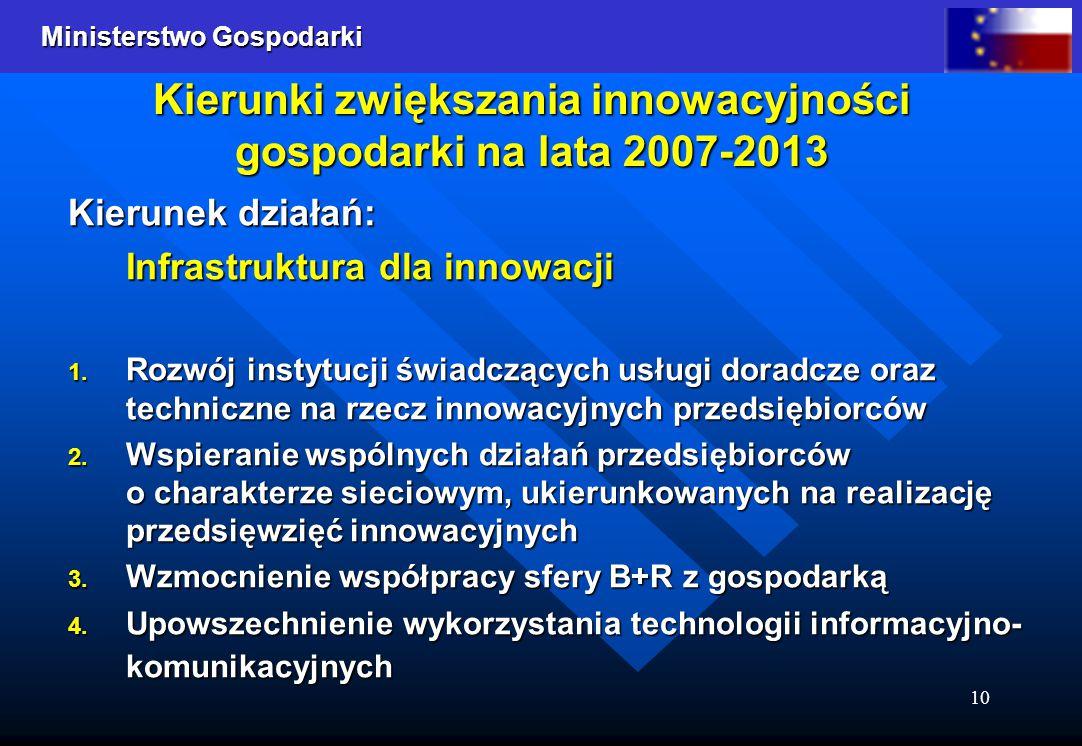 Ministerstwo Gospodarki 10 Kierunki zwiększania innowacyjności gospodarki na lata 2007-2013 Kierunek działań: Infrastruktura dla innowacji 1.