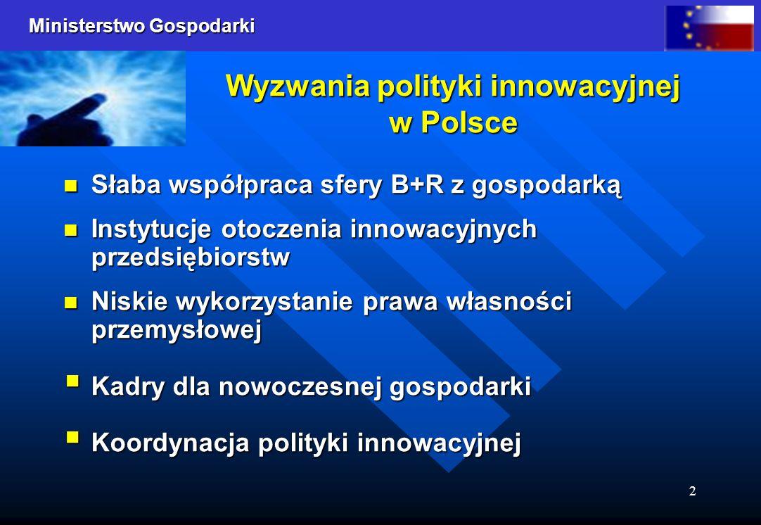 Ministerstwo Gospodarki 2 Wyzwania polityki innowacyjnej w Polsce Słaba współpraca sfery B+R z gospodarką Słaba współpraca sfery B+R z gospodarką Instytucje otoczenia innowacyjnych przedsiębiorstw Instytucje otoczenia innowacyjnych przedsiębiorstw Niskie wykorzystanie prawa własności przemysłowej Niskie wykorzystanie prawa własności przemysłowej  Kadry dla nowoczesnej gospodarki  Koordynacja polityki innowacyjnej