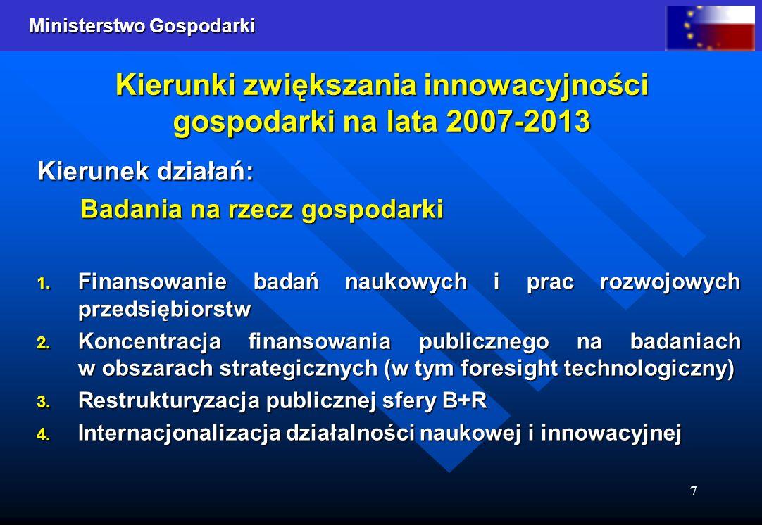 Ministerstwo Gospodarki 7 Kierunki zwiększania innowacyjności gospodarki na lata 2007-2013 Kierunek działań: Badania na rzecz gospodarki 1.