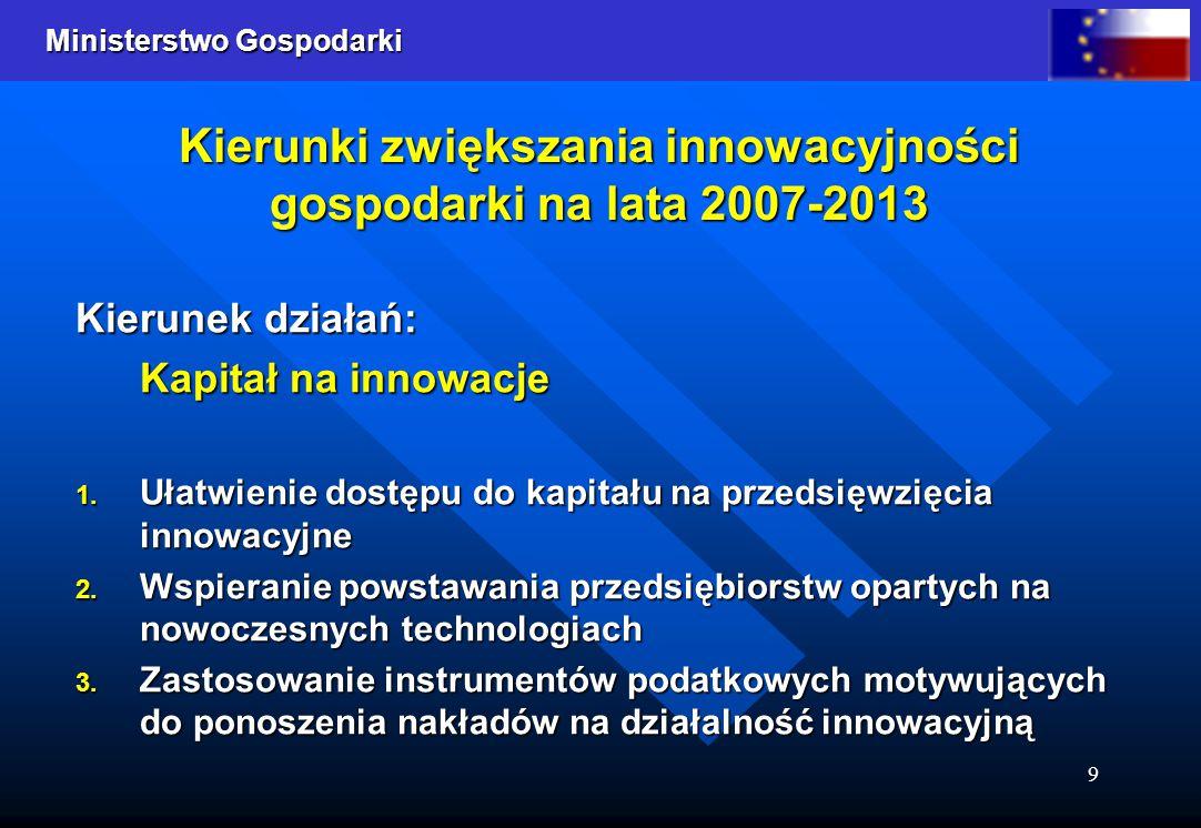 Ministerstwo Gospodarki 9 Kierunki zwiększania innowacyjności gospodarki na lata 2007-2013 Kierunek działań: Kapitał na innowacje 1.