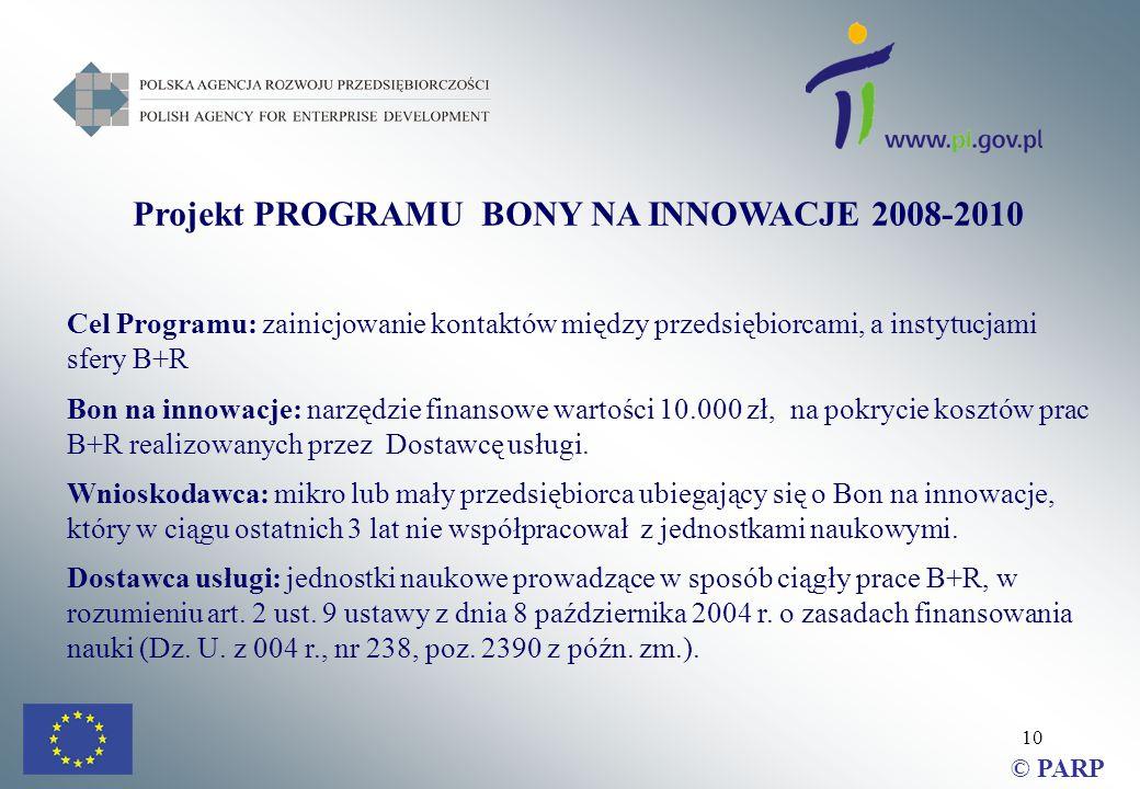10 Projekt PROGRAMU BONY NA INNOWACJE 2008-2010 Cel Programu: zainicjowanie kontaktów między przedsiębiorcami, a instytucjami sfery B+R Bon na innowacje: narzędzie finansowe wartości 10.000 zł, na pokrycie kosztów prac B+R realizowanych przez Dostawcę usługi.