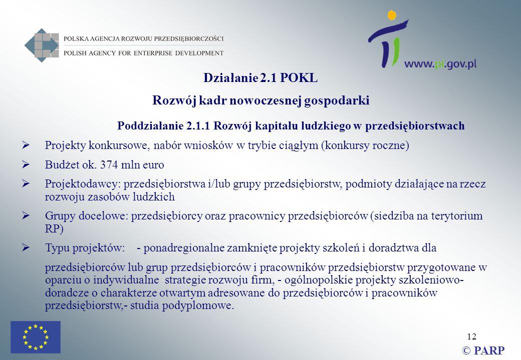 12 Działanie 2.1 POKL Rozwój kadr nowoczesnej gospodarki Poddziałanie 2.1.1 Rozwój kapitału ludzkiego w przedsiębiorstwach  Projekty konkursowe, nabór wniosków w trybie ciągłym (konkursy roczne)  Budżet ok.