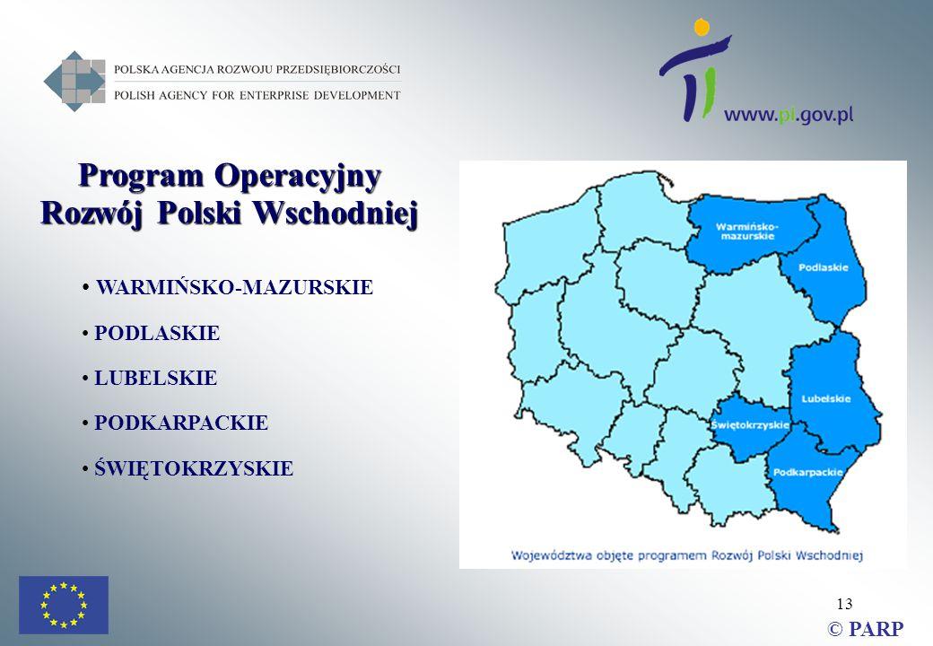 13 Program Operacyjny Rozwój Polski Wschodniej WARMIŃSKO-MAZURSKIE PODLASKIE LUBELSKIE PODKARPACKIE ŚWIĘTOKRZYSKIE © PARP
