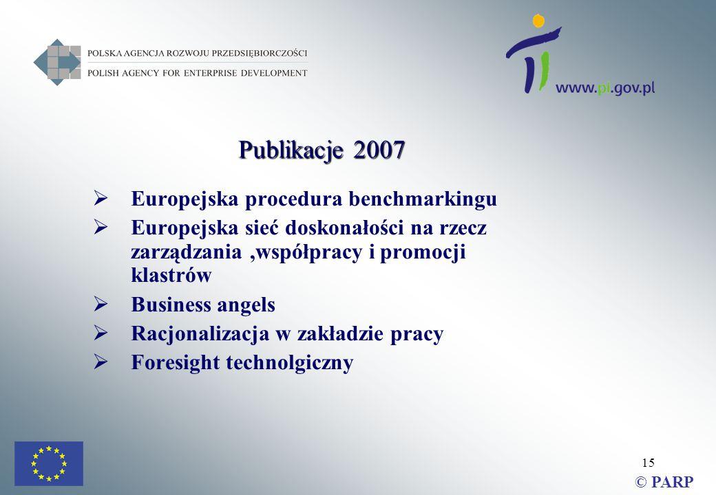 15  Europejska procedura benchmarkingu  Europejska sieć doskonałości na rzecz zarządzania,współpracy i promocji klastrów  Business angels  Racjonalizacja w zakładzie pracy  Foresight technolgiczny © PARP Publikacje 2007