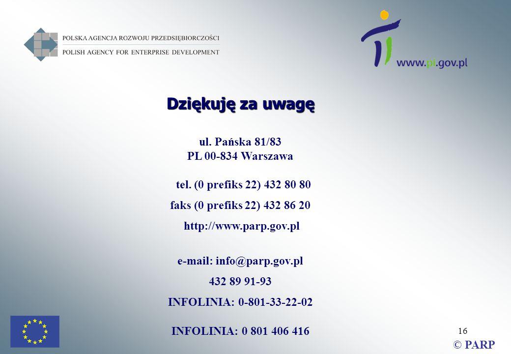 16 Dziękuję za uwagę ul. Pańska 81/83 PL 00-834 Warszawa tel.