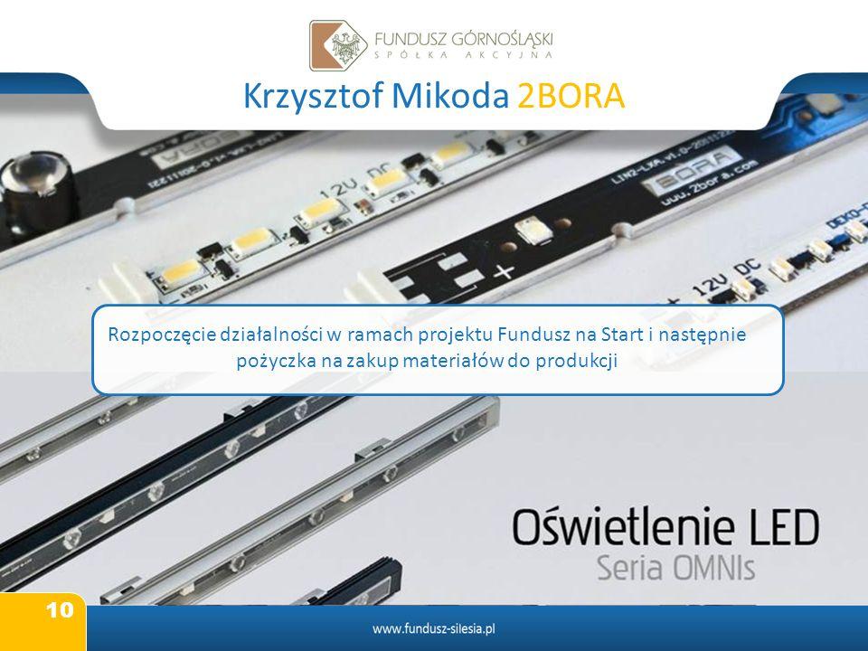 10 Krzysztof Mikoda 2BORA Rozpoczęcie działalności w ramach projektu Fundusz na Start i następnie pożyczka na zakup materiałów do produkcji