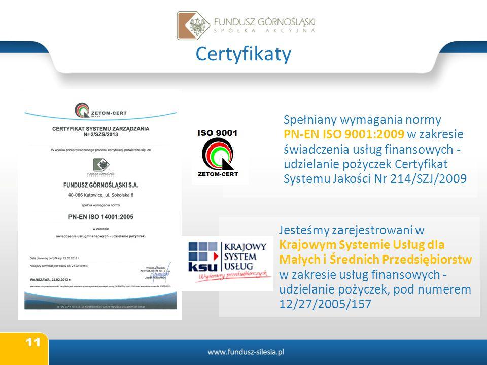 11 Certyfikaty Spełniany wymagania normy PN-EN ISO 9001:2009 w zakresie świadczenia usług finansowych - udzielanie pożyczek Certyfikat Systemu Jakości